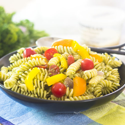 15 Minute Healthy Pesto Pasta from Feed Your Soul Too