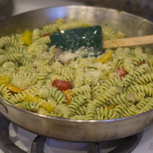 Pesto Pasta Mixed and Parmean Topped