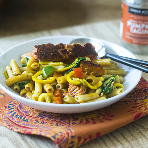 Salmon Pumpkin Curry Pasta from Feed Your Soul Too