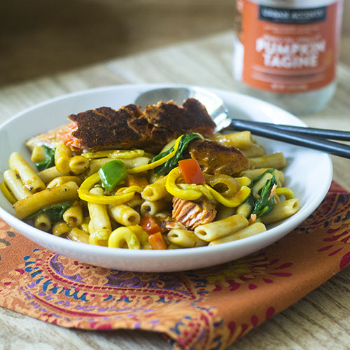 Salmon Pumpkin Curry Pasta #Indianfood #pasta #fusion | feedyoursoul2.com
