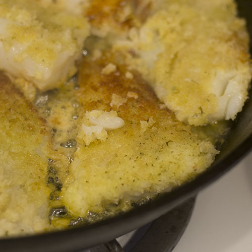 Parmesan Crusted Cod Fillets Flipped