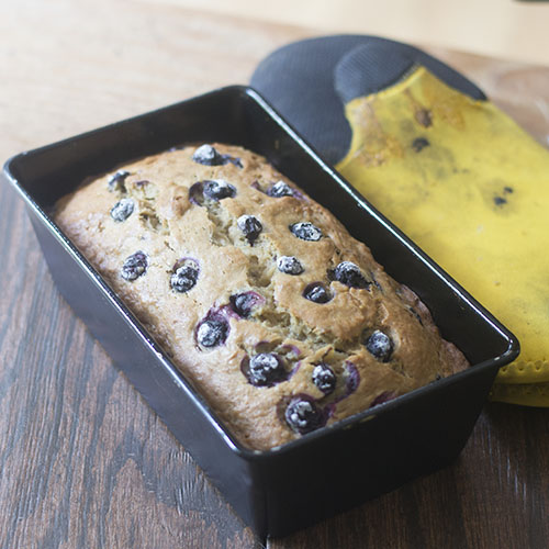 Vegan Blueberry Banana Bread Out of Oven