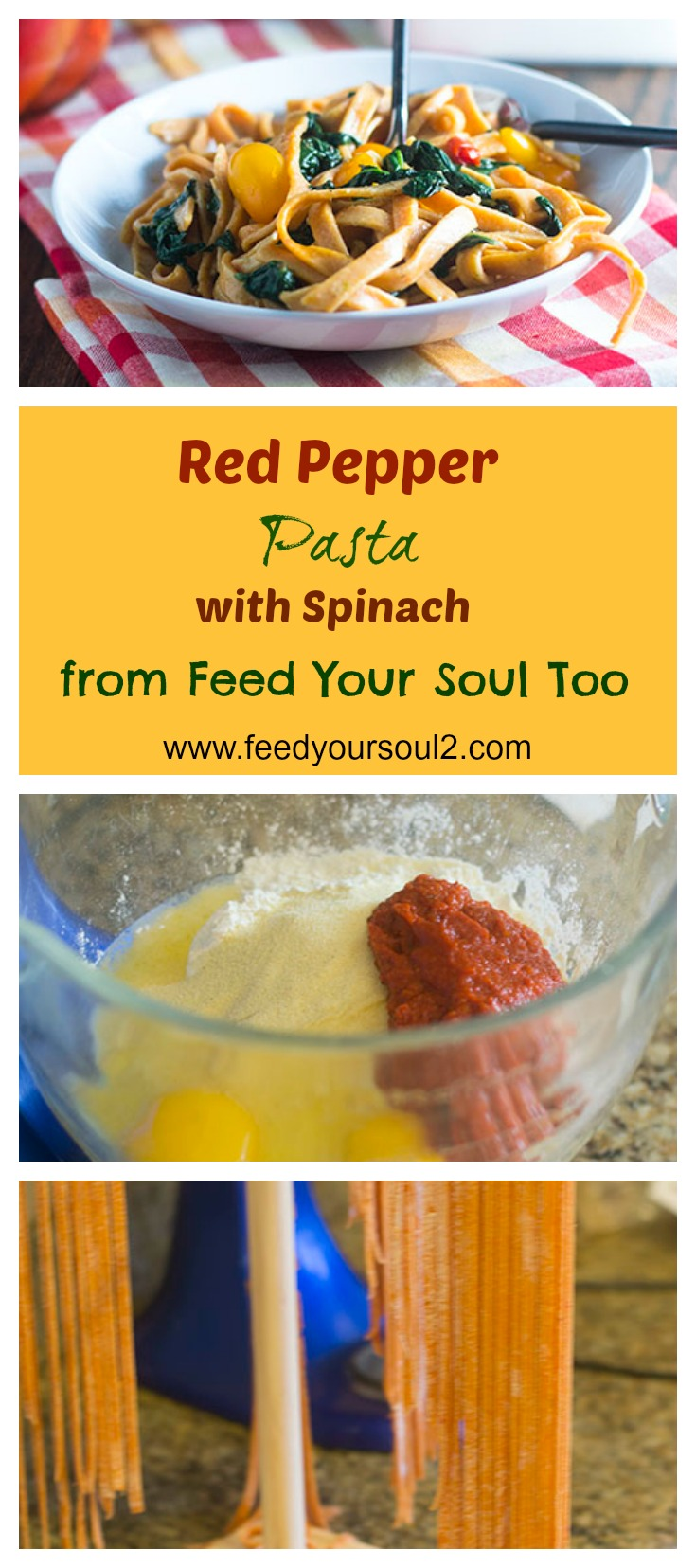 Red Pepper Pasta with Spinach #pasta #redpepper #Italianfood | feedyoursoul2.com