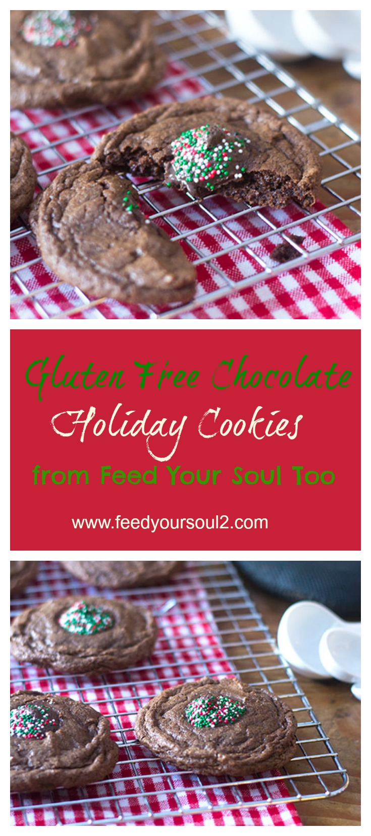 Gluten Free Chocolate Holiday Cookies #dessert #glutenfree #cookies | feedyoursoul2.com