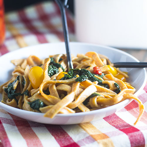 Red Pepper Pasta with Spinach from Feed Your Soul Too