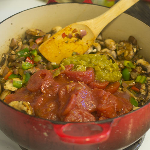 Stewed Tomatoes & Green Chilies Added