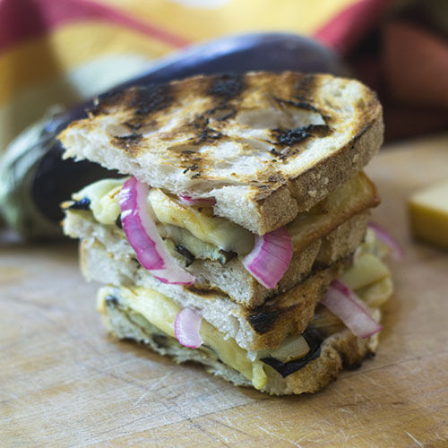 Grilled Eggplant and Smoked Gouda Sandwich from Feed Your Soul Too