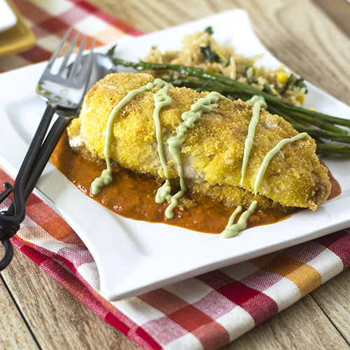 Mexican Risotto Stuffed Chicken Milanese from Feed Your Soul Too