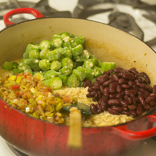 Okra & Red Kidney Beans Added