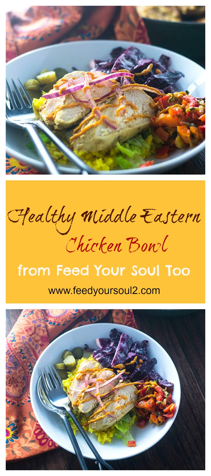 Healthy Middle Eastern Chicken Bowl #glutenfree #dinner #chickenrecipes | feedyoursoul2.com