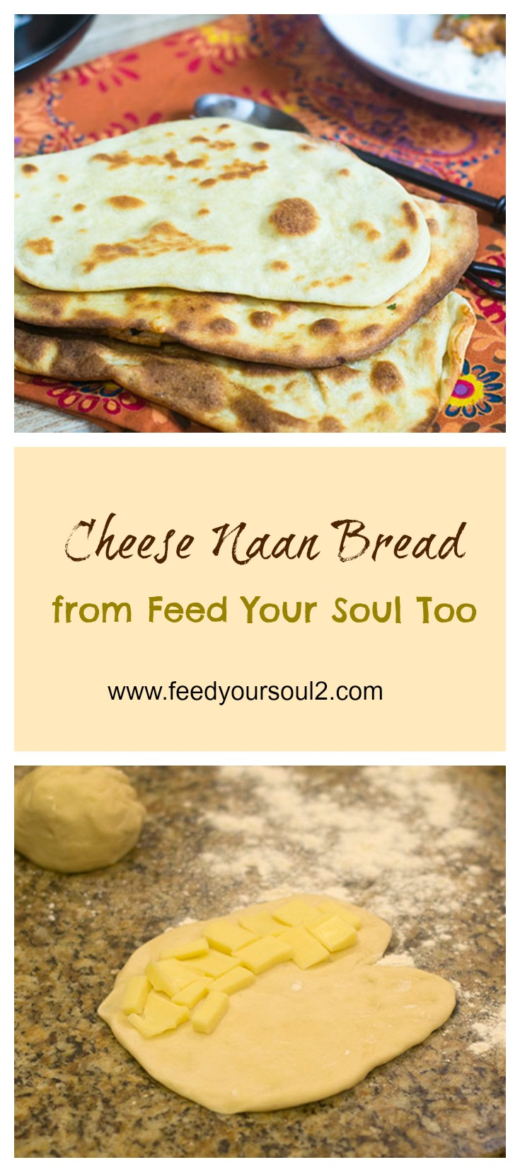 Cheese Naan Bread #Indianfood #bread #naan | feedyoursoul2.com