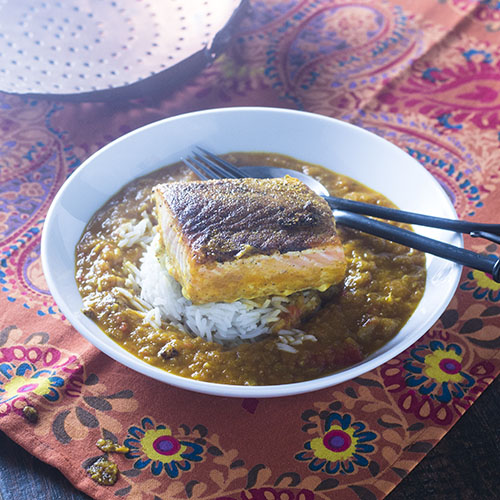 Indian Spiced Salmon in a Curry Sauce from Feed Your Soul Too