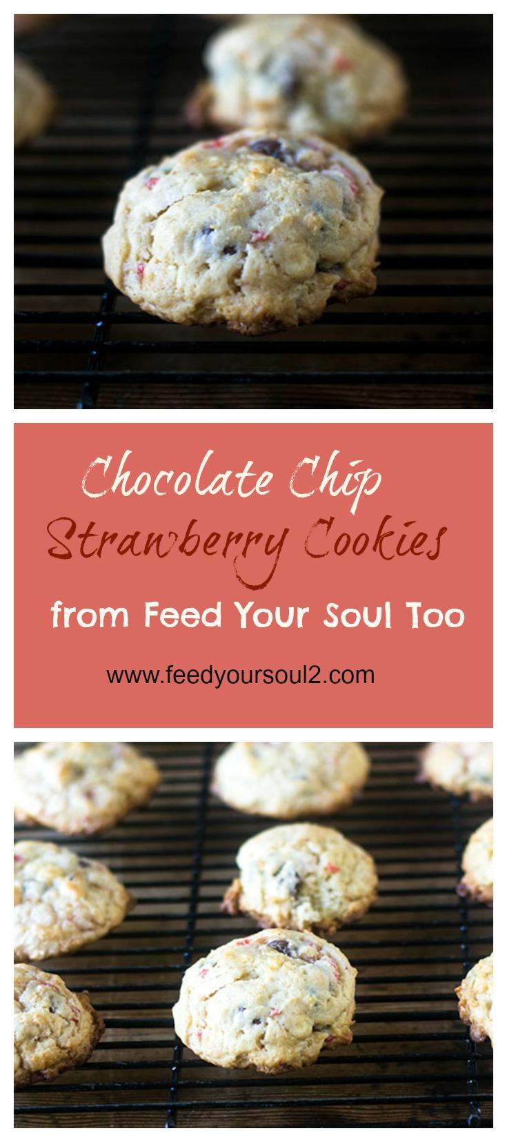Chocolate Chip Strawberry Cookies #Dessert #cookies #chocolate #strawberry | feedyoursoul2.com