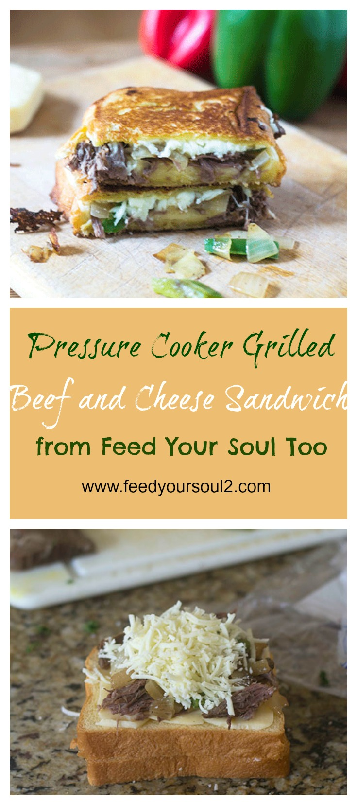 Pressure Cooker Grilled Beef & Cheese Sandwich #sandwich #grilledcheese #pressurecooker #beef | feedyoursoul2.com