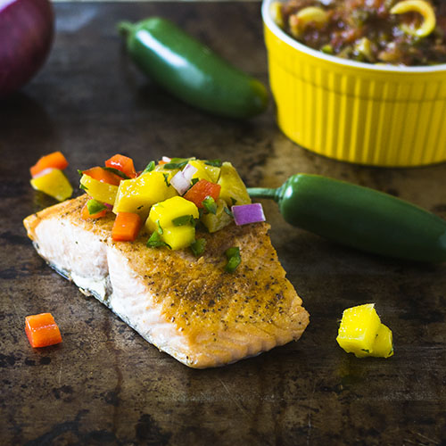 Mango Salsa Topped Salmon #seafood #salsa #mango feedyoursoul2.com