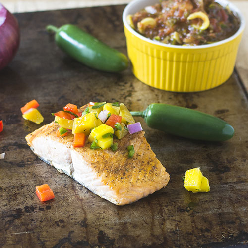 Mango Salsa Topped Salmon from Feed Your Soul Too