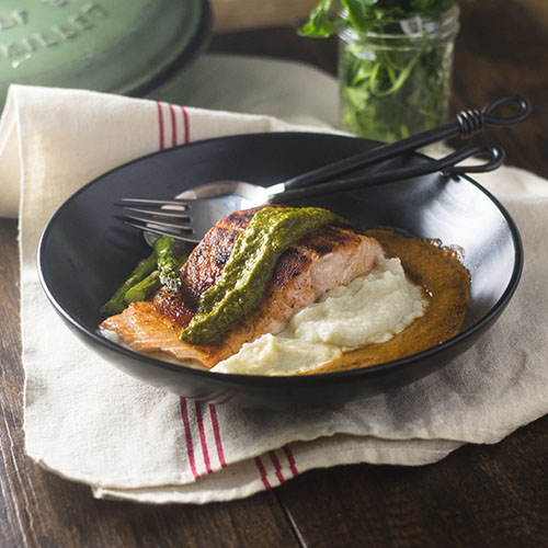 Salmon over Celery Root Puree from Feed Your Soul Too