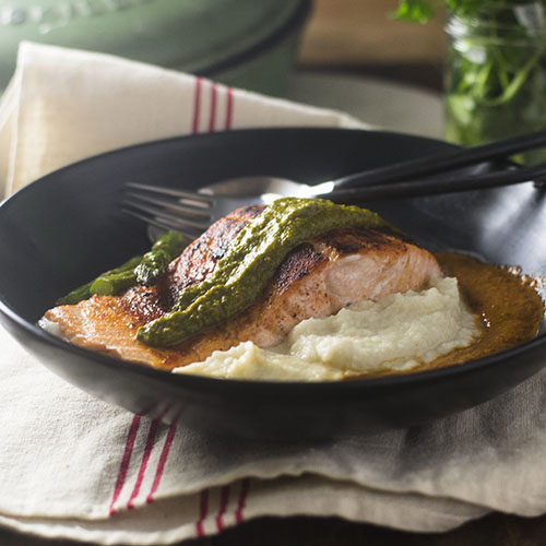 Salmon over Celery Root Puree #seaffod #dinner #rootpuree | feedyoursoul2.com