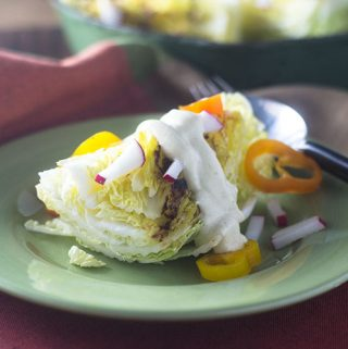 Creamy Curry Ranch Dressing on Grilled Cabbage