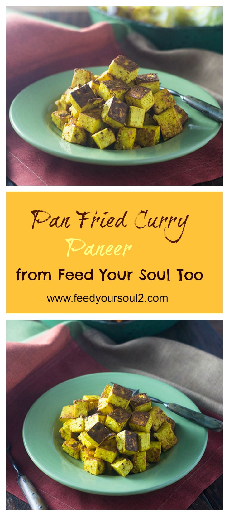 Pan Fried Curry Paneer #appetizer #indianfood #cheese #paneer | feedyoursoul2.com
