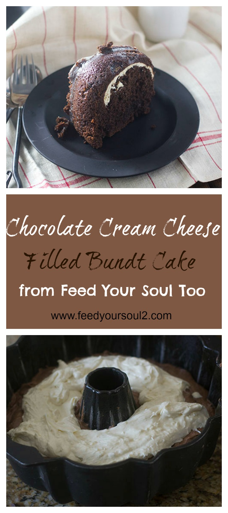 Chocolate Cream Cheese Filled Bundt Cake #dessert #chocolate #creamcheese feedyoursoul2.com