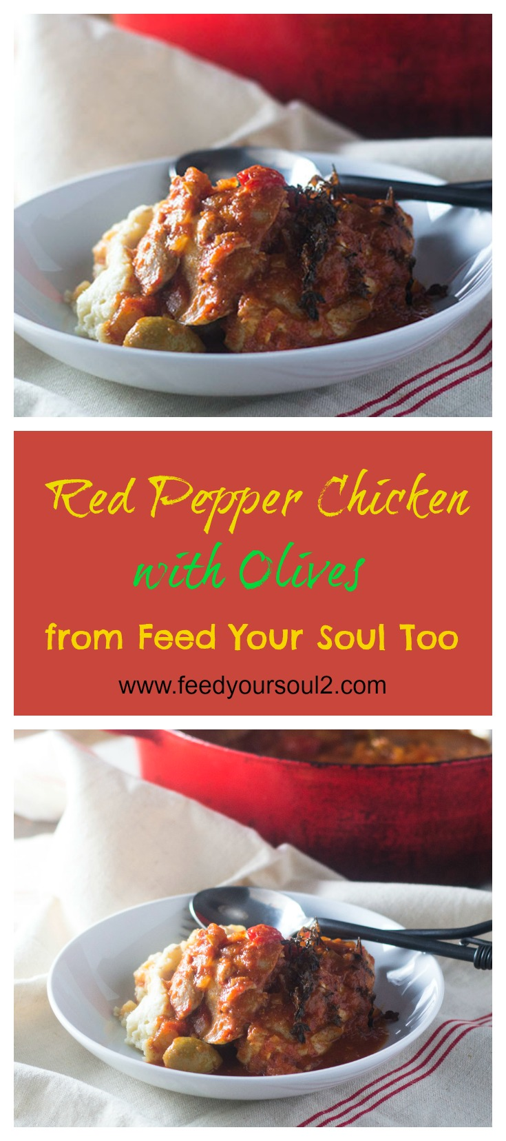 Red Pepper Chicken with Olives #dinner #holiday #chicken | feedyoursoul2.com