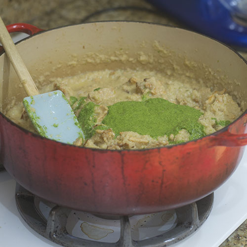 Green Masala Added to Dutch Oven