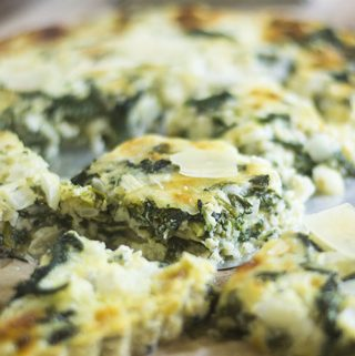 Irish White Cheddar Cheese Spinach Crust Less Tart