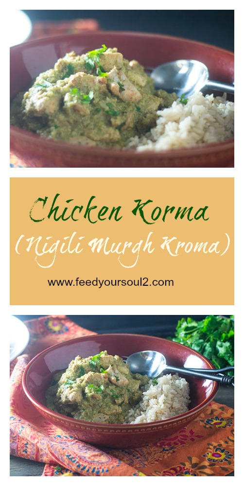 Chicken Korma Recipe #Indianfood #glutenfree #masala #diabetes | feedyoursoul2.com