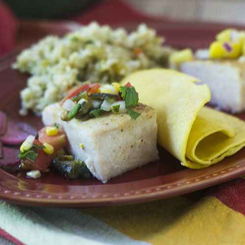 Poblano Salsa Baked Cod from Feed Your Soul Too