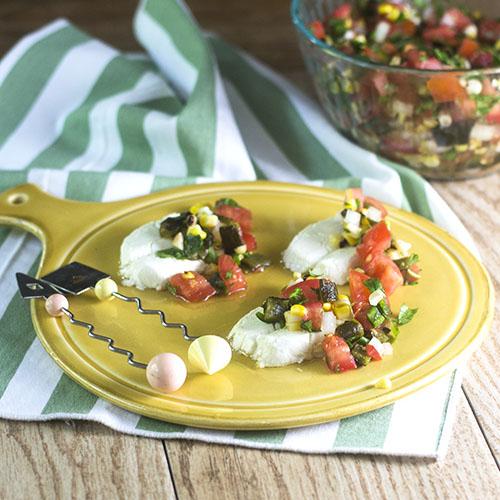 Poblano Salsa Caprese #appetizer #glutenfree #cheese #poblano | feedyoursoul2.com