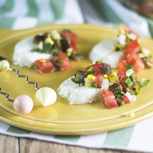 Poblano Salsa Caprese from Feed Your Soul Too