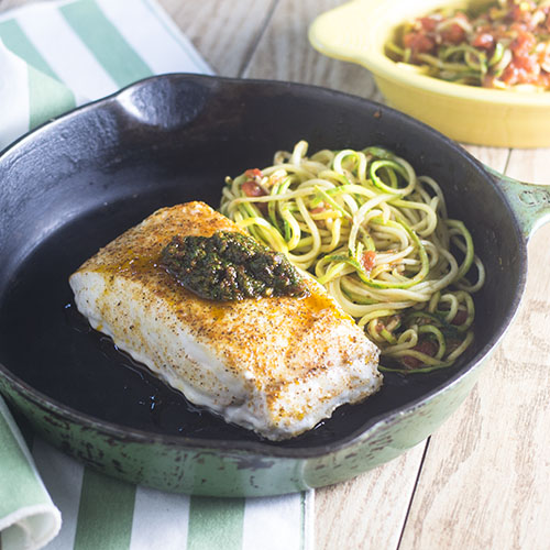 Sun Dried Tomato Pesto Sea Bass from Feed Your Soul Too