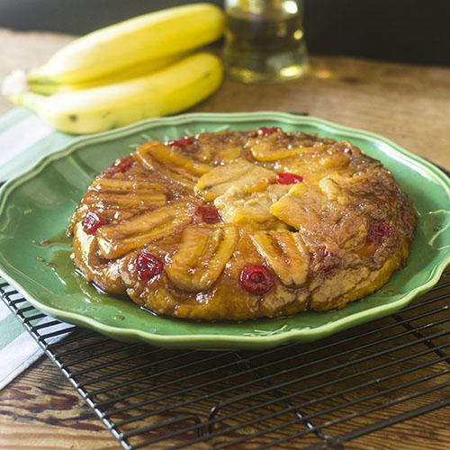 Upside Down Banana Cherry Coffee Cake - Feed Your Soul Too