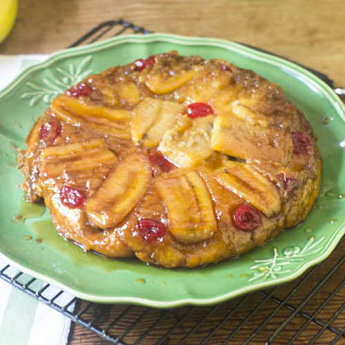 Upside Down Banana Cherry Coffee Cake from Feed Your Soul Too