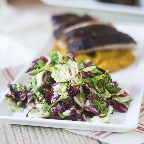 Brussels Sprouts Radicchio Slaw #salad #glutenfree #brusselssprouts #coleslaw | feedyoursoul2.com