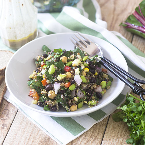 Hearty Vegan Edamame Quinoa Salad from Feed Your Soul Too