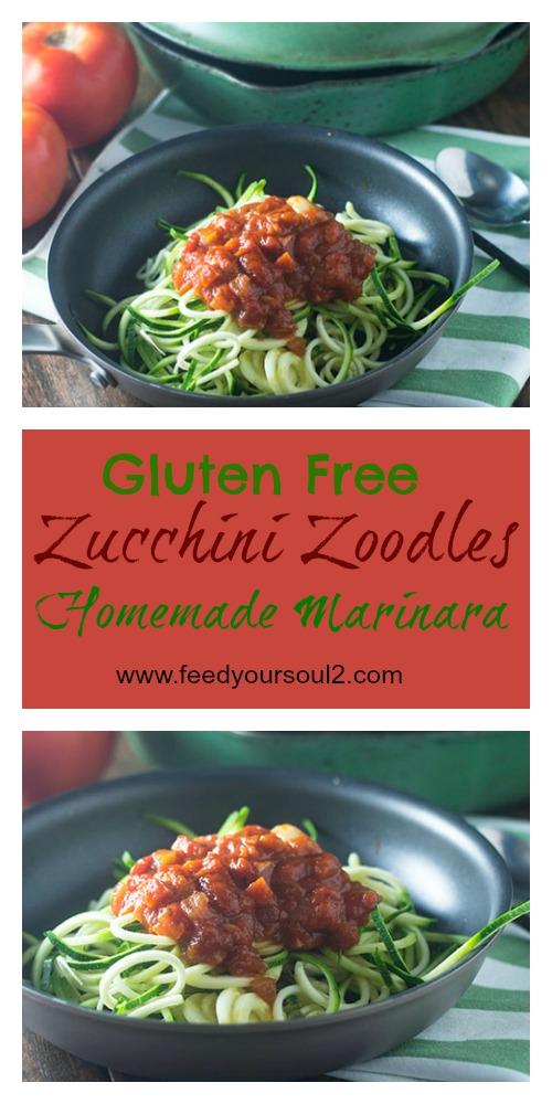 Zucchini Zoodles Homemade Marinara #Italianfood #glutenfree #sauce #zoodles | feedyoursoul2.com