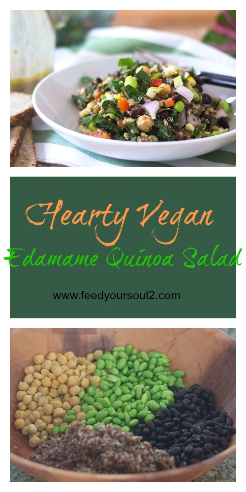 Hearty Vegan Edamame Quinoa Salad #vegan #glutenfree #salad #edamame | feedyoursoul2.com