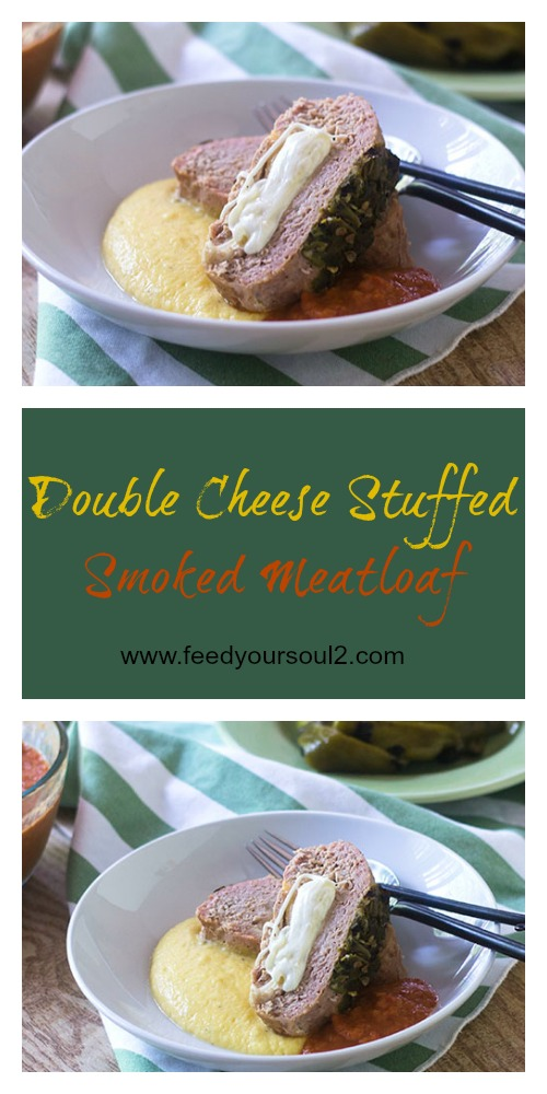 Double Cheese Stuffed Smoked Meatloaf #Smoker #glutenfree #meatloaf #Southern | feedyoursoul2.com