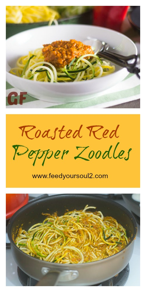 Roasted Red Pepper Zoodles #Italianfood #glutenfree #vegan #zoodles | feedyoursoul2.com