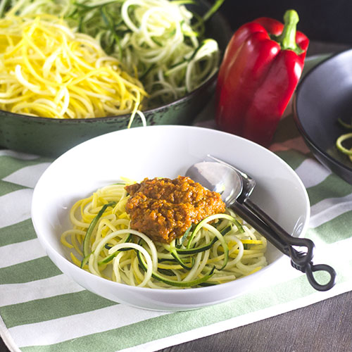 Roasted Red Pepper Zoodles from Feed Your Soul Too