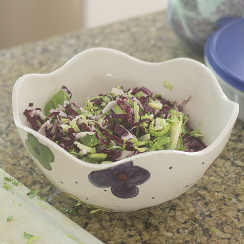 Cut Brussels Sprouts and Radicchio