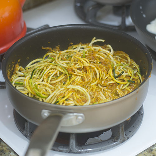 Zoodles Added to Red Pepper Sauce