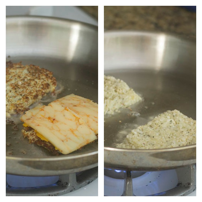 Pan Frying the Cauliflower Bread