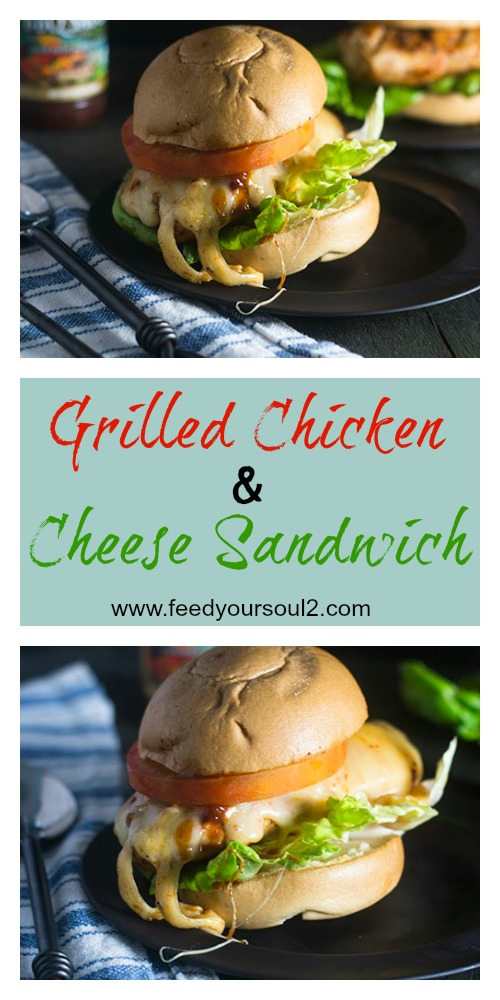 Grilled Chicken & Cheese Sandwich #glutenfree #chicken #sandwich #BBQ | feedyoursoul2.com