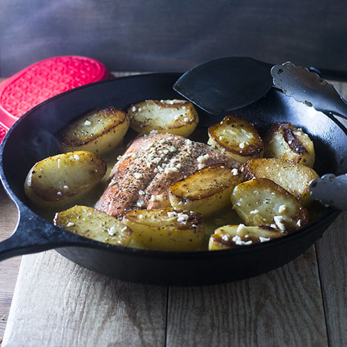 Cast Iron Skillet Salmon Vesuvio from Feed Your Soul Too