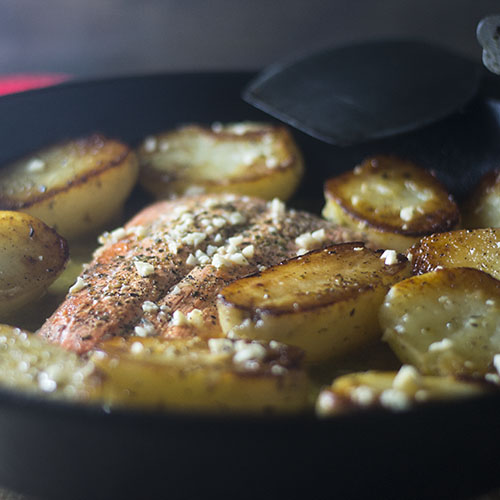 Cast Iron Skillet Salmon Vesuvio #salmon #glutenfree #garlic #Italianrecipes| feedyoursoul2.com