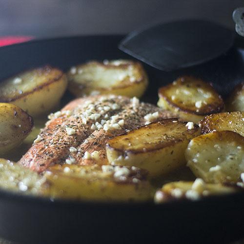 Cast Iron Skillet Salmon Vesuvio #salmon #glutenfree #garlic #Italianrecipes| feedyoursoul2.com
