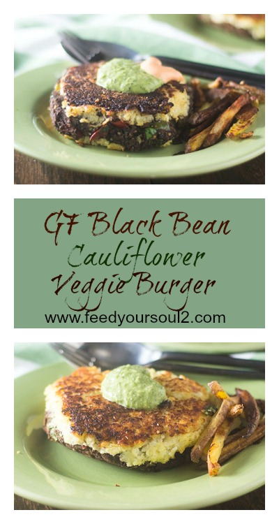 GF Black Bean Cauliflower Veggie Burger #burger #glutenfree #blackbeans #Cauliflower | feedyoursoul2.com